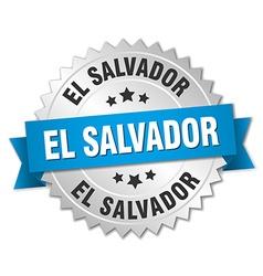 El Salvador round silver badge with blue ribbon vector