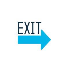 exit sign icon colored symbol premium quality vector image