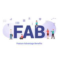 Fab feature advantage benefits concept with big vector