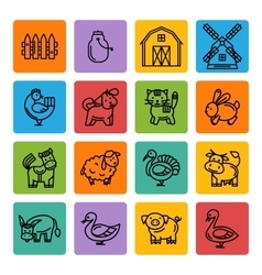 Farm animals black icon set vector