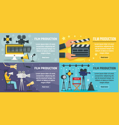 Film production banner set flat style vector