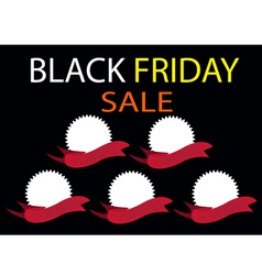 Five Round Banners on Black Friday Background vector image