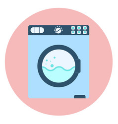 flat blue washing machine icon washer symbol vector image