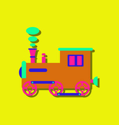 Flat icon design kids train in sticker style vector