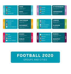 football 2020 tournament final stage groups and vector image