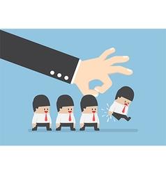 Giant hand flick businessman away vector image