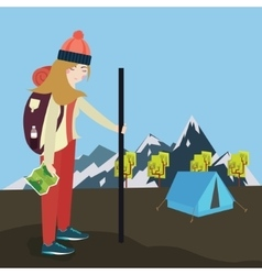 girls go hiking mouintain tent bring bag and map vector image