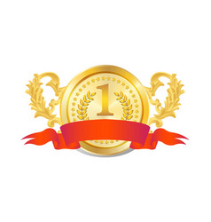 golden badge with red flag vector image
