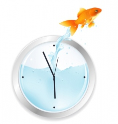 goldfish jumping from clock vector image