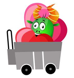 green monster in love on white background vector image