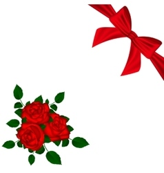 Greeting card with red roses and bow vector image