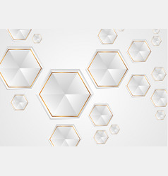 grey and golden tech hexagons abstract background vector image