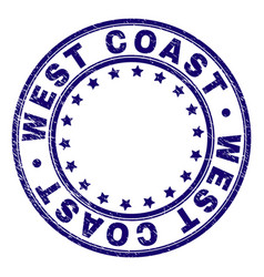 Grunge textured west coast round stamp seal vector