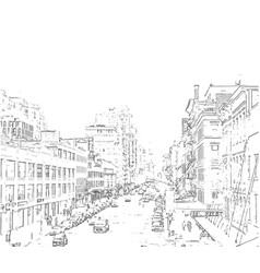 hand drawn city iluustration vector image