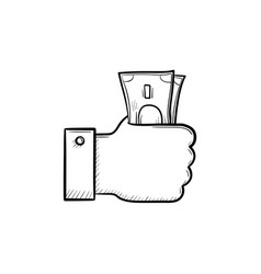 Hand holding money hand drawn outline doodle icon vector