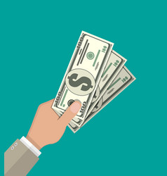 hands with dollar banknotes vector image