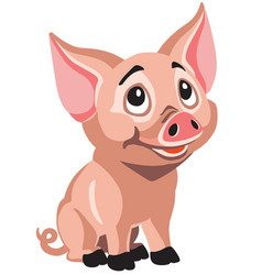 happy cartoon piglet vector image