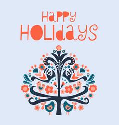 happy holidays scandinavian folk art vector image