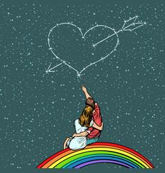 Heart pierced by an arrow over a couple in love vector