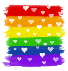 Hearts on rainbow watercolour background vector