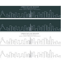 Hong kong single line skyline banner vector