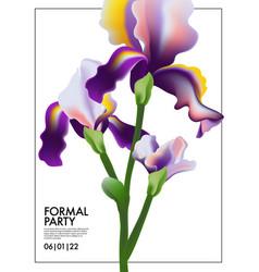 Iris flower wedding card irises blooming floral vector