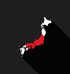 Japan flag map flat design icon vector image