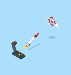 Joystick control rocket flying to red target vector