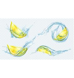 lemon slices in water or juice splash vector image