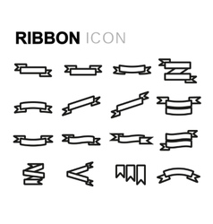 line ribbon icons set vector image