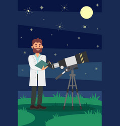 Man astronomer in white lab coat standing near vector