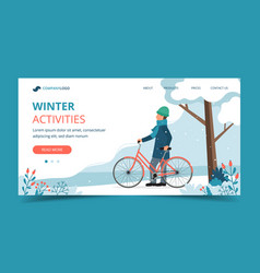 Man with bike in park in winter landing page vector