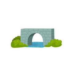 medieval stone bridge blue river and green bushes vector image