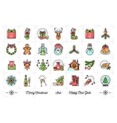 Mega New Year icons set Christmas isolated vector