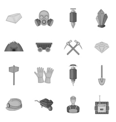 Mining icons set black monochrome style vector
