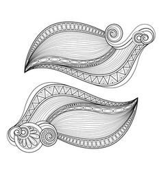 monochrome set decorative elements in doodle vector image
