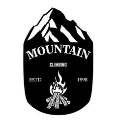 mountain climbing emblem template with rock peak vector image