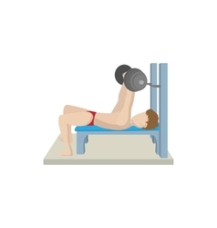 Muscle man trained in the gym bar bench press icon vector