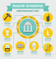 Museum infographic concept flat style vector