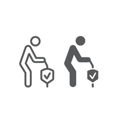 Pension insurance line and glyph icon human and vector