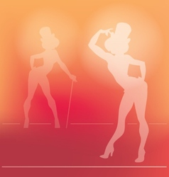 Pin-up silhouette of cabaret girl vector