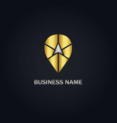 point arrow position gold logo vector image