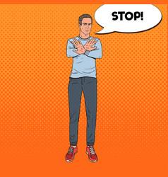 pop art man gesturing stop hand sign vector image