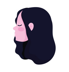 profile head girl cartoon isolated icon style vector image