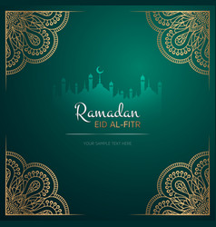 Ramadan kareem greeting card design with mandala vector