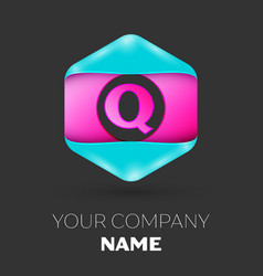 realistic letter q logo in colorful hexagonal vector image