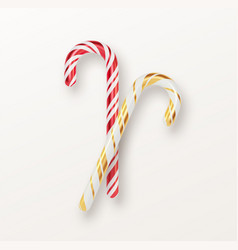 realistic xmas candy cane set isolated on white vector image