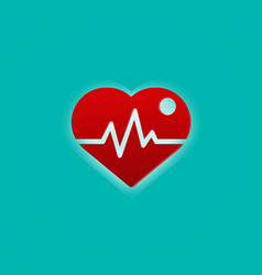 Red heart with pulse wave medical and symbol vector