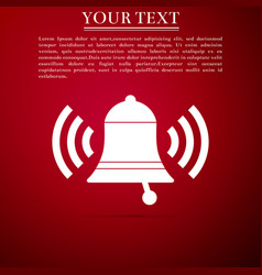 ringing bell icon isolated on red background vector image