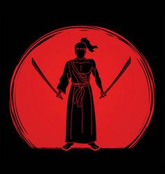 Samurai warrior standing with swords cartoon vector